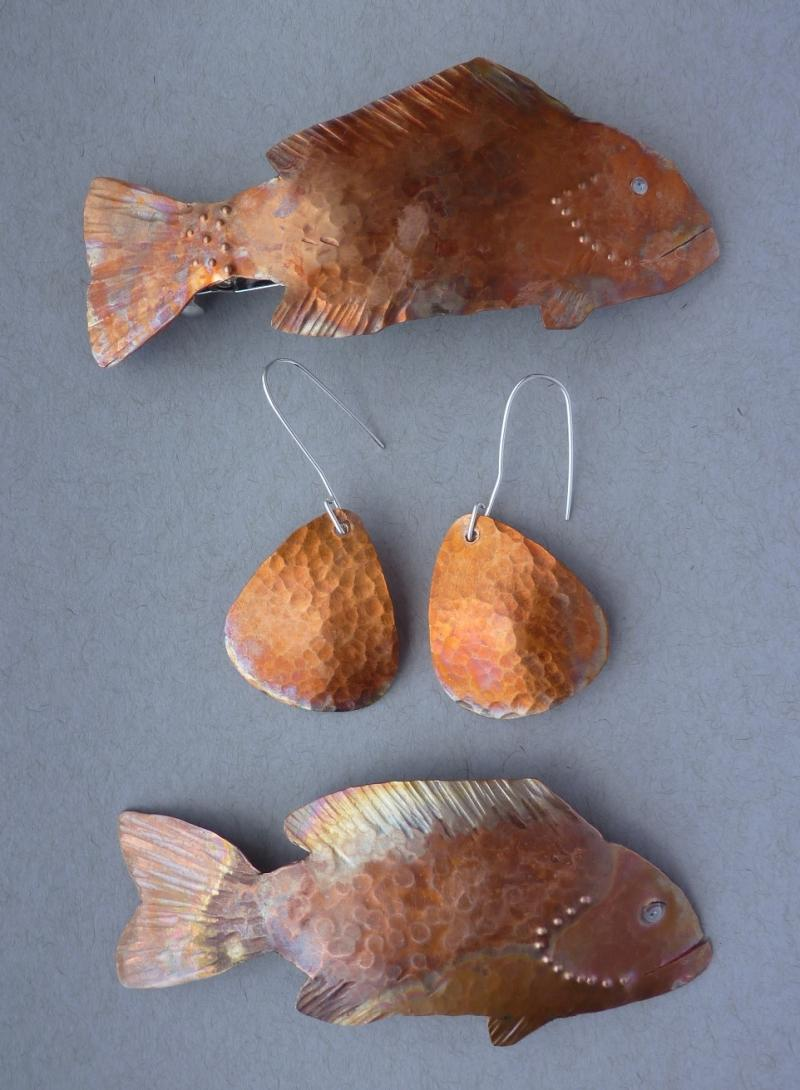 Copper Fish Barrettes and Earrings